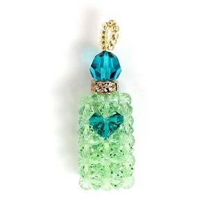 【Rosybear】スワロフスキー社クリスタル魅惑の香水ストラップ(ナチュラルグリーン)