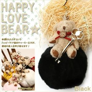 【期間限定クリスマスベア☆12/22まで】ハッピーラブくま&ポンポンストラップ(ブラック)