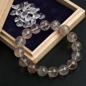 【金運】銀ルチルクォーツブレス12ミリ・ヒマラヤ水晶さざれ石付き♪