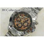 JH Collection 自動巻マルチ両スケ腕時計 金x黒 メンズ JJH11NGBK