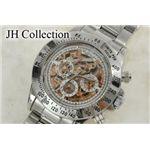 JH Collection 自動巻マルチ両スケ腕時計 金x白 メンズ JJH11NPGW