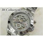 JH Collection 自動巻マルチ両スケ腕時計 銀x白 メンズ JJH11NW