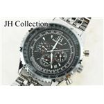 JH Collection 自動巻マルチ腕時計 黒 メンズ JJH8NBK