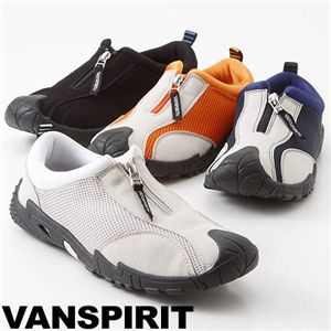 VANSPIRIT(ヴァンスピリット) センターファスナーモックシューズ VR2130 ブラック S(24.0-24.5cm)