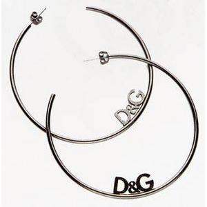 D&G(ディーアンドジー) ラウンドロゴピアス(ガンメタ) DJ0957