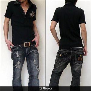 2枚襟フェイクポロシャツ  J7493 ブラック M