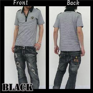 ボーダーシャツ J7489 ブラック L