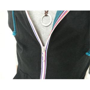 半袖カラフルジップパーカー×七分袖カットソー  ライトグレー×ブラック L