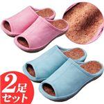 足の疲れに 快適コルクインソールスリッパ(ピンク・ブルー2足セット)約22〜24cm用