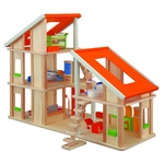 ★PLAN TOYSの木製玩具(木のおもちゃ)★7141★ 家具付きシャレードールハウス