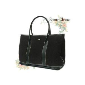 ♪最高級品質BonneChanceおしゃれなキャンバス地トートバッグ黒