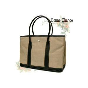♪最高級品質BonneChanceおしゃれなキャンバス地トートバッグベージュ