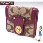 COACH(コーチ) レガシー シグネチャー フレンチ 3つ折り財布 プラム 41956-BKHPM