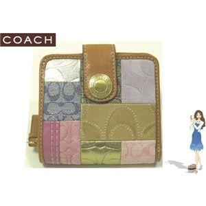 COACH(コーチ) シグネチャー ストライプ パッチワーク ミディアム ジップ 二つ折り財布 41209