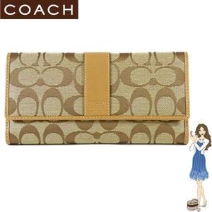 COACH(コーチ) 3つ折り長財布 シグネチャー チェックブック キャメル 41878 円高還元