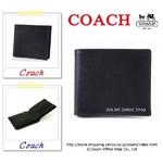 COACH(コーチ) MEN'S 2つ折り財布 コーチメンズ ドレス テクスチャード コイン ブラック 74120