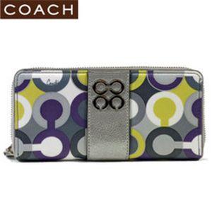 【春の最新モデル2010】COACH(コーチ) ジュリア スカーフプリント 43852 アラウンド長財布 ライラックマルチカラー