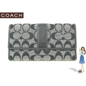 Coach(コーチ) 3つ折り長財布 シグネチャースリムエンベロープ ブラック 41525
