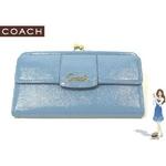 Coach(コーチ) 3つ折り長財布 ペネロピ パテント スリムエンベロープ ブルー 42387