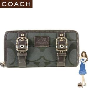 Coach(コーチ) アコーディオン ジップ アラウンド長財布 ゾーイ シグネチャー ブラック 41854