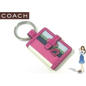 Coach(コーチ) キーホルダー マルチ レガシー ストライプ ピクチャー フレーム キーフォブ 92364