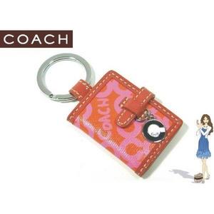 Coach(コーチ) キーホルダー オプ アート プリント ピクチャー フレーム キーフォブ ピンク 92438