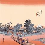 【箱入り】■日本製高級風呂敷■丹後ちりめん浮世絵風呂敷[二巾]■川崎■