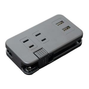 ミヨシ ACコンセント搭載 USB2ポートUSB-ACアダプタ ブラック IPA-24AC2/BK