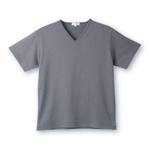 デオル ブイネックピケTシャツ グレー Lサイズ