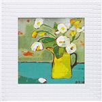 《絵画》フラワー コレクションアート ララ ボウエン 「黄色いブリキの水差し」