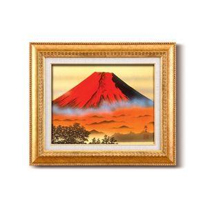 風景専門店あゆわら 《手描き油絵》葛谷聖山(梅月) 日本画額 F6金 「赤富士」