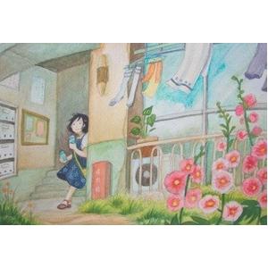 風景専門店あゆわら 《情景画》待ち合わせ(坂道なつ)〔アクリル画・水彩画〕