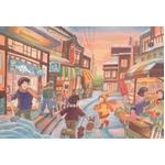 風景専門店あゆわら 《情景画》冬の商店街(坂道なつ)〔アクリル画・水彩画〕
