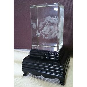 3Dレーザー彫刻クリスタルガラス置物【五爪の皇帝龍】