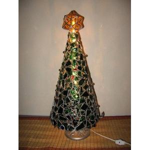 ステンドガラス製 クリスマスツリーランプ