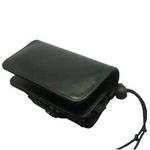 Rix(リックス) 高級本革仕様、横型携帯ケース 厚み調整できる編み上げ式 (ブラック) RX-CAYBK 【2個セット】