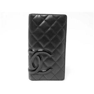 【中古A】CHANEL(シャネル) 2つ折り長財布 カンボンライン A26717 黒