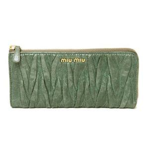 【現品限り】MIUMIU(ミュウミュウ) L字ファスナー長財布 カーフ グリーン 5M1183 【中古B】