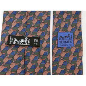 【現品限り】HERMES(エルメス) ネクタイ // シルク100% ブルー/グリーン/ブラウン 【中古SA】