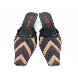 【現品限り】MIUMIU(ミュウミュウ) ミュール 靴 キャンバス ベージュ/ブラウン/パープル 【中古B】