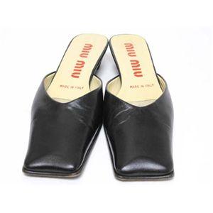【現品限り】MIUMIU(ミュウミュウ) ミュール 靴 カーフ 黒 【中古AB】