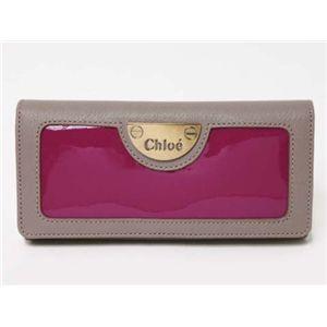 【現品限り】Chloe(クロエ) 2つ折長財布 エナメル カーフ パープル/グレー 3P0254 【中古SA】