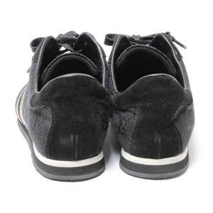 【現品限り】GUCCI(グッチ) GG柄スニーカー 靴 キャンバス スエード 黒 【中古A】