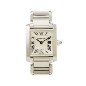 【現品限り】Cartier(カルティエ) タンクフランセーズSM SS 時計 ステンレススチール 文字盤:ホワイト W51008Q3 【中古A】