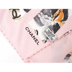 【現品限り】CHANEL(シャネル) 大判スカーフ ピンク シルク100%【中古A】