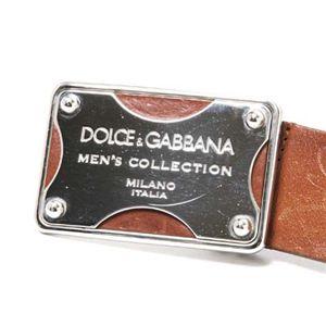 【現品限り】Dolce&Gabbana(ドルチェ&ガッバーナ)  ベルト カーフ ブラウン/シルバー【中古AB】