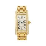 【現品限り】Cartier(カルティエ) 腕時計 タンクアメリカンSM ケースダイヤ ベゼルダイヤ YG レディースウォッチ クオーツ 【未使用】