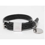 【現品限り】シャネル 小型犬用 首輪 マトラッセ 黒 カーフ シルバー金具 99C【中古A】