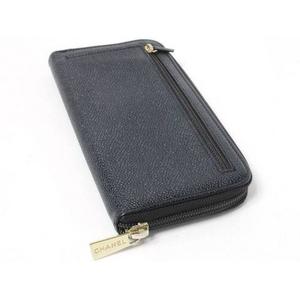 【現品限り】CHANEL(シャネル) ラウンドファスナー長財布 キャビア 黒 A13228 【中古AB】