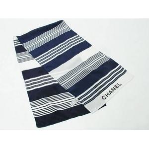【現品限り】CHANEL(シャネル) スカーフ 白/ネイビー 【中古A】